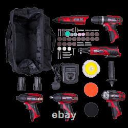 6x 12V Cordless Power Tool Kit Combo Hammer Drill Impact Wrench Rotary Tool + +