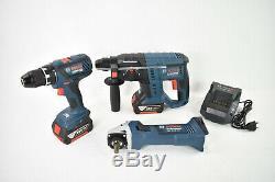 BOSCH 18V 2x4Ah Akku Werkzeug SET GSR Schrauber + GWS + GBH Hammer Combo Kit