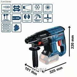 Bosch GBH 18V-21 Cordless 18v SDS 3-Mode Li-Ion Hammer Drill Kit, 0611911172