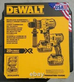 DEWALT DCK299P2 20V MAX XR Li-Ion Hammer Drill & Impact Driver Combo Kit NEW