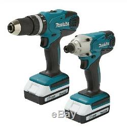 Makita 18v Cordless Combi Hammer Drill & Impact Driver Twin Pack + 74 piece Set