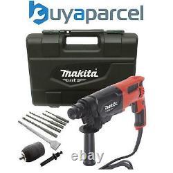 Makita 240v SDS + 3 Mode Rotary Hammer Drill 26mm + 5 SDS Bits Chisel + Chuck