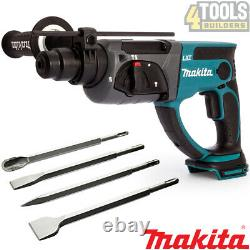 Makita DHR202Z Cordless SDS+ Rotary Hammer Drill With 4 Pieces Drill Chisel Set