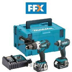 Makita DLX2145TJ 18V 2x5.0Ah Li-ion Hammer Drill Impact Driver Kit Rapid Charger