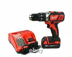 Milwaukee 2607-20 M18 V18 Compact 1/2 in Hammer Drill with 1.5Ah Battery & Charger