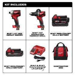 Milwaukee 2893-22cx M18 Brushless Hammer Drill & Impact Combo Kit 2893-22CX