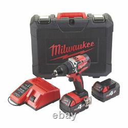 Milwaukee Cordless Combi Hammer Drill And Charger M18CBLPD-402C 18V 2 x 4.0Ah