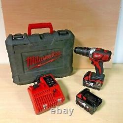 Milwaukee M18BPD-402C 18v combi hammer drill 2x4ah batteries + charger + case