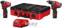PACKOUT Milwaukee 2598-22PO M12 FUEL 2-Tool Hammer Drill Impact Driver Kit NEW