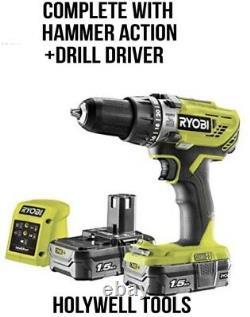 Ryobi Llcdi18022 One+ 18v 2 Speed Hammer Drill 2 X 1.5ah Li-ion Batteries