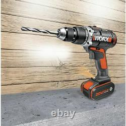 WORX WX372.7 18V (20V MAX) Cordless Combi Hammer Drill x2 4.0Ah Batteries