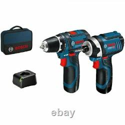 Bosch 12v Twin Pack Gsb Combi Hammer Drill + Rda Impact Driver Lithium Ion
