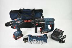 Bosch 18v 2x4ah Akku Werkzeug Set Gsr Schrauber + Gws + Gbh Marteau Kit Combo