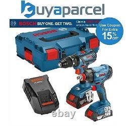 Bosch Gsb18v-28c Combi Marteau Perforateur Gdx18v-180 + Clé D'impact Pilote Lboxx