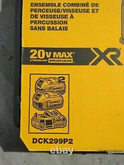 Dewalt Dck299p2 20v Max Xr Li-ion Hammer Perceuse Et Pilote D'impact Combo Kit Nouveau