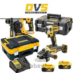 Dewalt Dck305p2t 18v Cordless Brushless Sds+ Hammer, Impact Driver & Grinder Set
