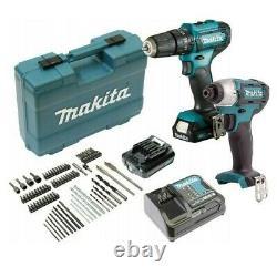 Makita 12v Cordless Combi Hammer Drill & Impact Driver Twin Pack + Ensemble De 74 Pièces