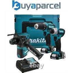 Makita 12v Cxt 3pc Kit Combi Hammer Perceuse + Conducteur D'impact + Batterie Sds Perceuse 2