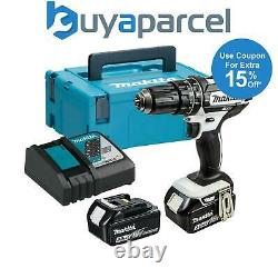 Makita Dhp482rfwj 18v Lxt Combi Hammer Drill White 2 X 3.0ah Batteries + Chargeur