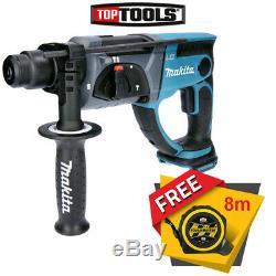 Makita Dhr202 18v Sds Plus Lxt Hammer Drill Avec Des Mesures De Bande Libre 8m / 26ft