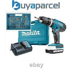 Makita Hp457 18v Lithium Combi Hammer Perceuse Comprend 74 Tournevis Bit Set