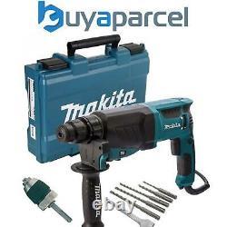 Makita Hr2630 110v Sds Plus 3 Mode Rotatif Hammer Drill + Sds Bits Chisel + Chuck