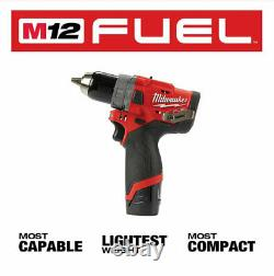 Milwaukee 2504-20 M12 Carburant Sans Brosse 1/2 Po. Perceuse De Marteau Et Batterie 2.0ah, Boîtier