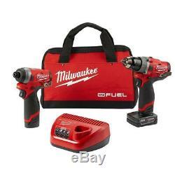Milwaukee 2598-22 M12 Fuel 2-outil Et Hammer Drill Hex Impact De Pilote Kit Nouveau
