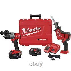 Milwaukee Fuel M18 Hammer Drill & Hackzall Combo Kit 2 Batterie Nouveau 2804-22h Nouveau