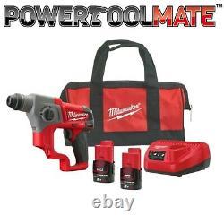 Milwaukee M12ch-202b Sous-contact Sds+ Hammer Drill Kit (2 X 2.0ah) En Sac