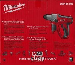 Nouveau Milwaukee M12 Lithium-ion Sans Fil 1/2 Sds Plus 12v Rotatif Marteau 2412-20