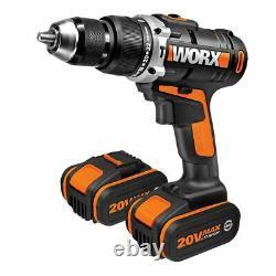 Worx Wx372.7 18v (20v Max) Perceuse À Marteaux Combinés Sans Fil X2 4.0ah Batteries